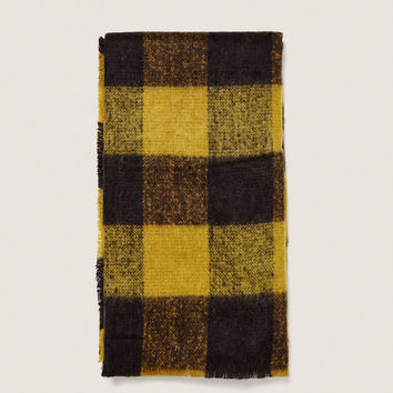 CHECKED MUSTARD YELLOW SCARF DETAILS