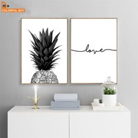 Pineapple Love Quotes Canvas Paintings Wall Art Nordic Posters Prints Black White Wall Pictures For Living Room Bathroom Decor
