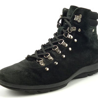 Prada Mens Shoes Size 6, US 7 Suede Hiking Trail Boots Black Pre-owned