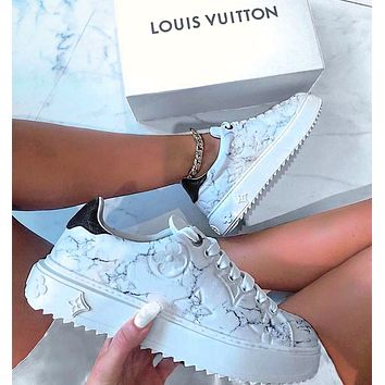 Louis Vuitton LV Sneakers Marble texture Contrast Shoes monogram tail White