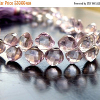 49% Off Sale Pink Amethyst Gemstone Briolette Faceted Diamond 7.5 to 8.5mm 15 beads