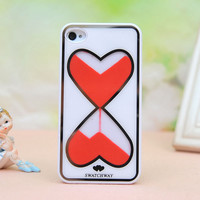 Love Heart-shaped Hourglass Hard Cover Case For Iphone 4/4s/5