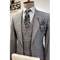 Grey Double Breasted Checked Suit Set