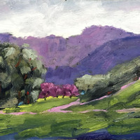 BRIONES REGIONAL PARK - 9 x 12 - Landscape - Purple - Green - Original Oil Painting - Honeystreasures - Art - Wall Hanging - Home Decor