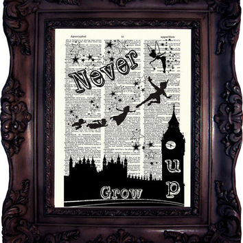 Peter Pan Quote Print on Book Page Peter Pan and Fairy Peter Pan Decor Peter Pan Print on Dictionary Page Peter Pan and Wendy C:566