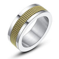 Stainless Steel Gold-Color Mesh Ring