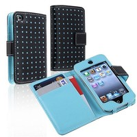 Insten Leather Wallet Case for iPod touch 4G (Black/Blue Dot)