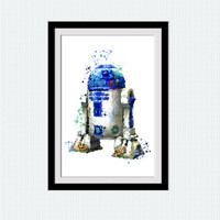 Star Wars R2D2 watercolor print R2-D2 art poster Child room decor Star Wars poster Home decoration Kids room wall art Star Wars decor W659