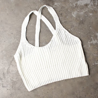 basic slouchy knit crop top - ivory