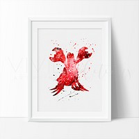 Sebastian, Little Mermaid Watercolor Art Print