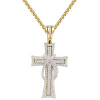 Silver out American Red Ribbon Cross Pendant Chain