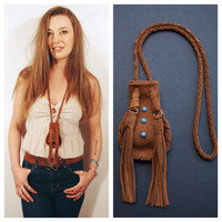 Medicine bag. Suede fringe bag. Leather tassel necklace. Turquoise necklace. Turquoise jewelry. Suede pouch. Music festival bag. Boho style