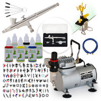 Pro Complete Temporary Temp. Tattoo Air Brush Paint Stencil Kit 6 Color Set