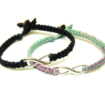 Infinity Hemp Bracelets, Set of Two, Pastel and Black Hemp Jewelry for Couples, Made to Order