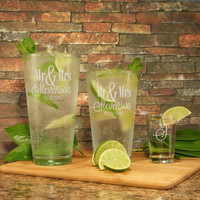 MR & MRS Set of Two (2) Personalized Highball Glasses with Custom Couple's Monogram Designs and OPTIONAL Two (2) Monogrammed Shot Glasses