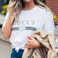 GG classic printed letters men's and women's printed letters top T-shirt White