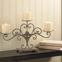 Fleur-De-Lis 3 Pillar Candle Centerpiece Decor