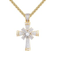 Custom Iced Out Solitaire Jesus Cross Spinner Pendant Necklace