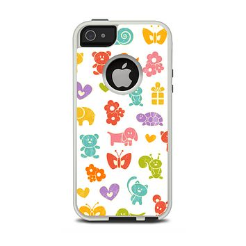 The Furry Fun-Colored Critters Pattern Apple iPhone 5-5s Otterbox Commuter Case Skin Set