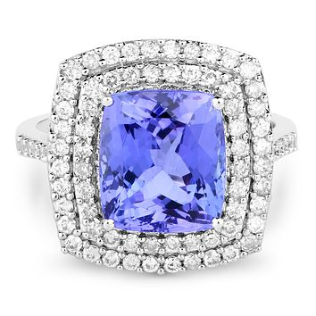 14K White Gold Natural 5.7CT Cushion Cut Tanzanite and Earth Mined White Diamond Engagement Ring