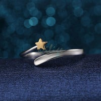 Retrochic Fashion 925 Sterling Silver Gold Star Opening Adjustable Couple Rings Gifts = 1929853892