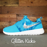 Nike Roshe One Customized by Glitter Kicks - Blue Watercolor/White