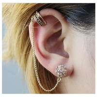 Fashion Punk Rock Ear Cuff Ear Wrap Cuff Stud Earring Rhinestone Gothic Earring Fashion Jewelry Birthday Gift