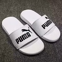 shosouvenir ❤ Puma:3M reflective laser black and white sports slippers