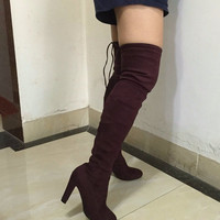 Boots Stretch Faux Suede Slim Thigh High Boots- Over the Knee Boots Wine