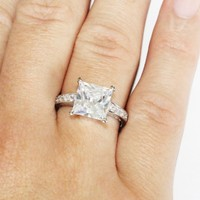 Princess Cut Diamond Promise Ring on Hand - Beautiful Promise Rings