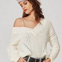 UO Cable Knit V-Neck Sweater | Urban Outfitters