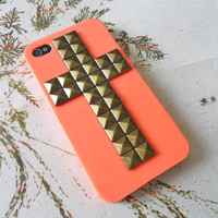 Fashion orange iPhone 4, 4S hard case cover with cross bronze pyramid stud for iPhone 4 Case, iPhone 4S Case, iPhone 4 GS case -012