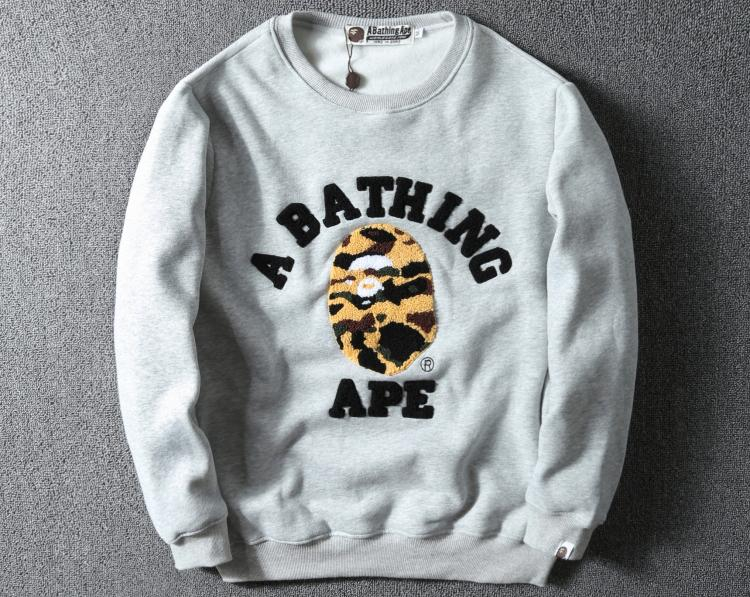 Image of Bape classic camouflage skull letter printed long-sleeved T-shirt F-A-KSFZ grey