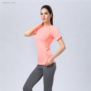 2016 Women Sports Folding Dew Back Spandex T-Shirt Fitness Running Yoga Gym Body Building Top Tees Anthena Cat Activewear
