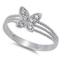 Sterling Silver Butterfly Cubic Zirconia Triple Rope Shank Ring