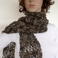 Hand knit scarf - beautiful gray brown and cream spring scarf with tassels in Italian virgin wool blend