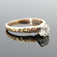 Classic Solitaire Engagement Ring with Roses and green leaves, fine diamond RGDI568D