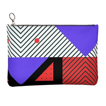 Neo Memphis Patches Stickers Leather Clutch Bag by The Photo Access
