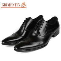 fashion vintage carved men oxford shoes black genuine business leather shoes men casual for office wedding