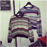 Striped Long Sleeves Rib Knit Hem Sweater