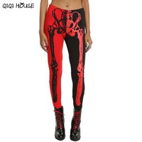Halloween Costume For Women Sexy Skeleton Leggings Stretch Black Red Color Pants Pantacourt Femme#C901