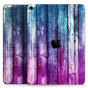 "Pink & Blue Dyed Wood - Full Body Skin Decal for the Apple iPad Pro 12.9"", 11"", 10.5"", 9.7"", Air or Mini (All Models Available)"