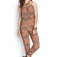LOVE 21 Paisley Cami Jumpsuit Beige/Red