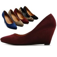 ollio Womens Platform Multi Colored Faux Suede Wedge Closed-Toe Party Shoes Pump