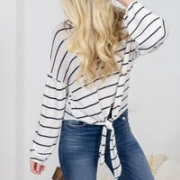 Jove Striped White Knot Top