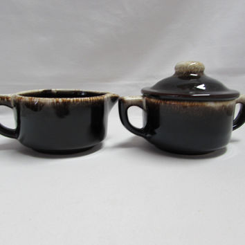 Vintage Pfaltzgraff Brown Drip Gourmet Creamer and Sugar