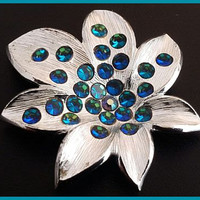 """Weiss Brooch Pin Signed Peacock Blue Rhinestones Silver Metal Designer Holiday Jewelry  2.5"""" Vintage"""