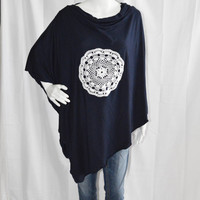 Navy Nursing Poncho with Crocheted Doily/ Lightweight Nursing Cover/ Nursing Shawl/ OOAK Tunic Top/ One shoulder Top/ Boho Clothing