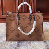 LV Louis Vuitton classic color matching printed letters ladies large-capacity shopping handbag shoulder bag Coffee&Brown