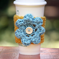 Yellow with Light Blue Flower and Wooden Button Cup Cozy, Coffee Sleeve